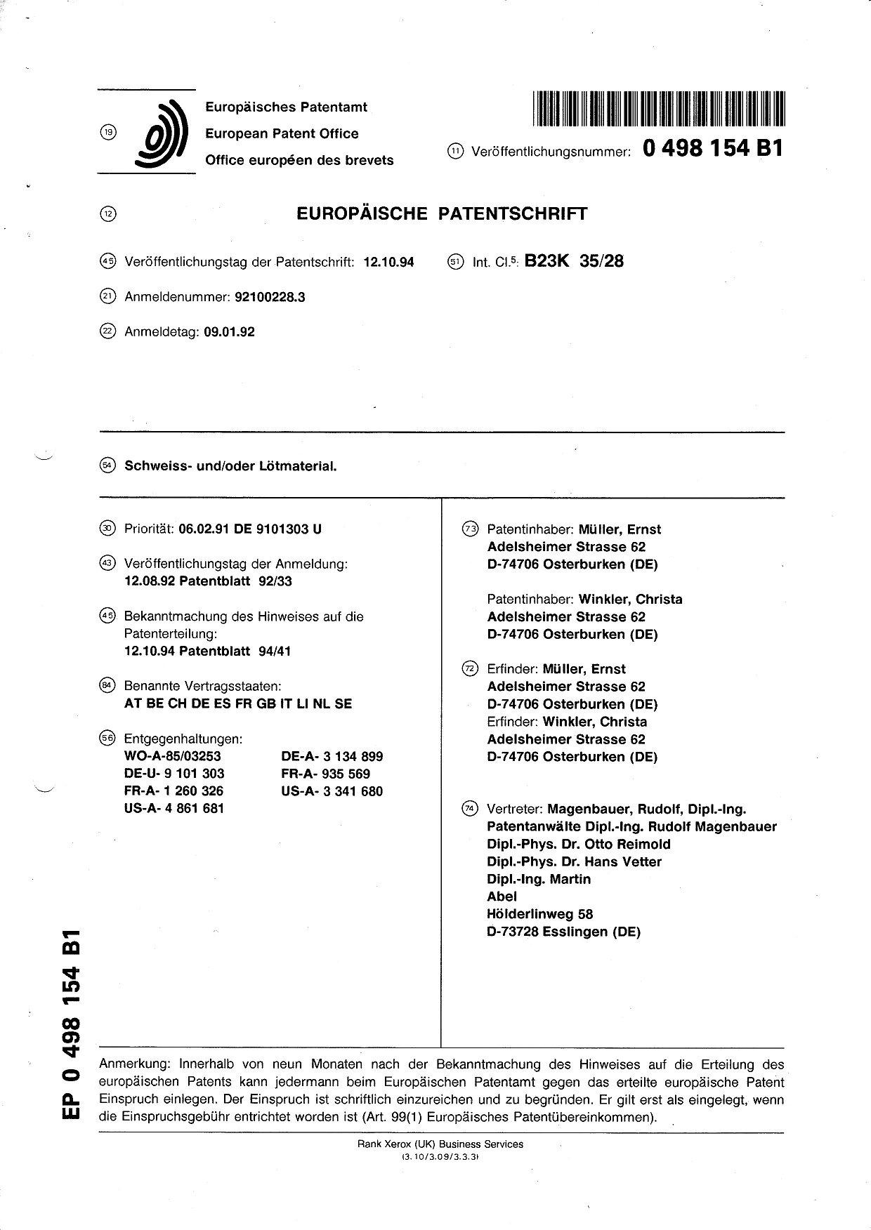 Patentschrift \'Der heiße Draht\'